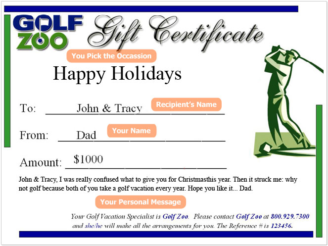 Golf Zoo Gift Certificate